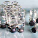 transparent vials of hyaluronic acid