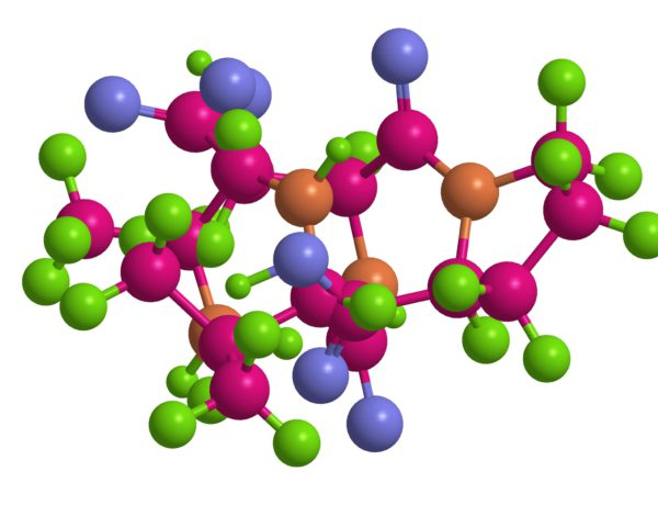 Molecular structure of short peptide (sequence alanine-valine-asparagine-proline), 3D rendering
