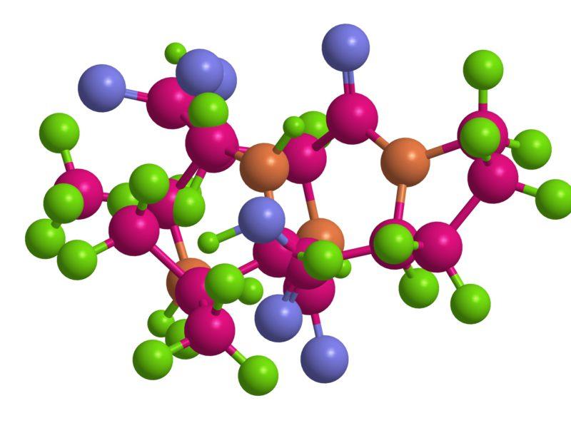 Molecular structure of short peptide (sequence alanine-valine-asparagine-proline), 3D rendering