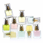 Perfume bottles over white background