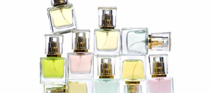 Perfume bottles over white background