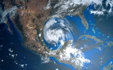 Hurricane Approaching Texas Overhead View